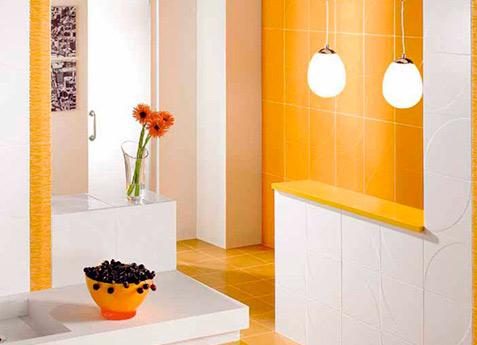 ceramica baño naranja